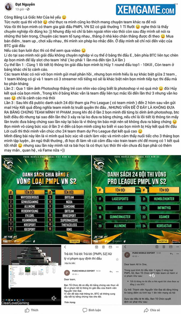 Biến căng: Game thủ tố BTC giải đấu PUBG Mobile 1,5 tỷ thiếu chuyên nghiệp, truất quyền thi đấu mà không đưa ra bằng chứng - Ảnh 1.