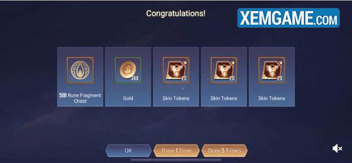 Vòng quay Kho Báu server Tencent cung cấp lượng vàng và mảnh skin nhiều hơn.