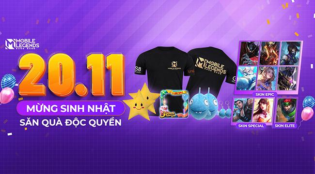 20/11 – săn quà độc quyền sinh nhật 2 tuổi của Mobile Legends: Bang Bang VNG