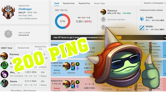 LMHT: Xuất hiện game thủ chơi trong điều kiện 200 ping, spam Rammus lên Thách Đấu