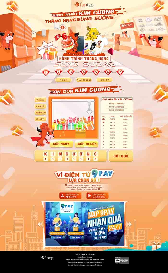 """Cộng đồng game thủ Việt """"thỏa mãn"""" với sự kiện Sinh nhật Kim Cương - Funtap"""