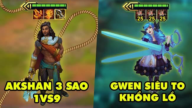 TOP khoảnh khắc điên rồ nhất Đấu Trường Chân Lý 159: Akshan 3 sao 1vs9, Gwen siêu to khổng lồ