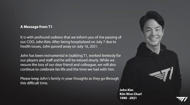 Tin buồn liên tiếp đến với T1, Giám đốc đột ngột qua đời vì bạo bệnh