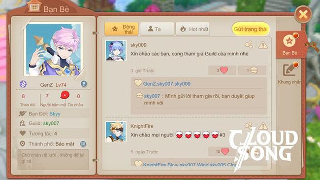 Cloud Song VNG: Cho phép mở trang cá nhân và tương tác ngay trong game