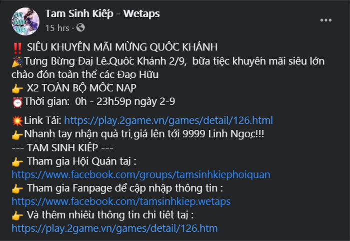 """Tam Sinh Kiếp Wetaps có ngay sự kiện tặng quà khủng """"toàn dân"""" mừng Quốc Khánh"""